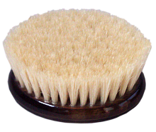 Wooden brush with whitened bristle