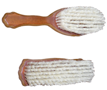 Wooden brushes covered by bristle, head and clothes