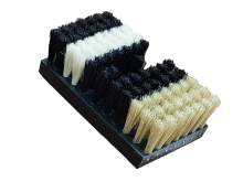 Pvc brush, covered with natural and synthetic filaments